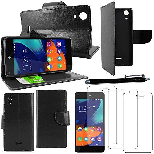 ebestStar - Coque Compatible avec Wiko Rainbow Lite 4G Etui PU Cuir Housse Portefeuille Porte-Cartes Support Stand + Stylet + 3 Films d'écran, Noir [Appareil: 143 x 71.2 x 9mm, 5.0'']