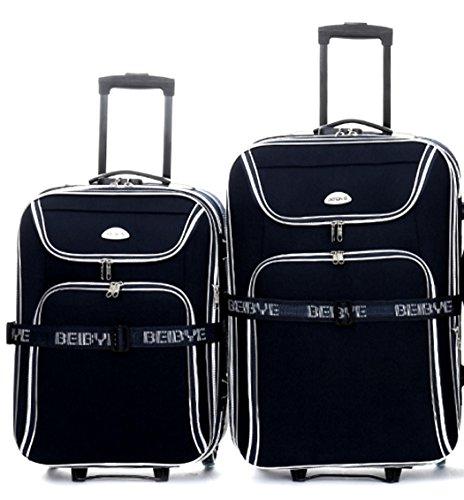Juego de 2 maletas con ruedas, 66 y 56 cm, con correa para maleta, color negro