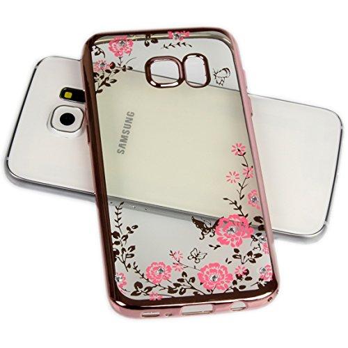 Handy Lux® Schutz Hülle Silikon Hülle mit Glitzer Steine Strass Cover für Samsung Galaxy J7 Prime/ON7 2016, Rosa Hülle - Rosa Blume