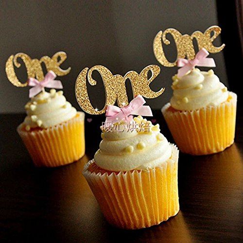 Flunyina 24PCS Glitter Gold One Cupcake Topper Pink Bow 1st Birthday Party Anniversary Decoration