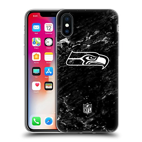 Head Case Designs Offizielle NFL Marmor 2017/18 Seattle Seahawks Soft Gel Handyhülle Hülle Huelle kompatibel mit Apple iPhone X/iPhone XS