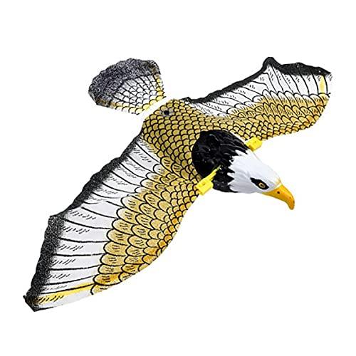 Gobutevphver Águila eléctrica Repelente de pájaros Luminoso Colgante Águila eléctrica con música Espantapájaros voladores Búho Volador portátil Decoración de jardín de pájaros - Colorido