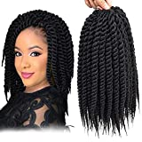 Admutty Havana Mambo Twist Crochet Hair 6 Packs 18 inch Crochet Braids Senegalese Twist Crochet Braiding Hair (T1B/Burgundy)