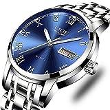 Lige, orologio da polso da uomo in acciaio inossidabile, impermeabile, analogico, al quarzo, elegante e lussuoso Orologi alla moda 2 blu argento