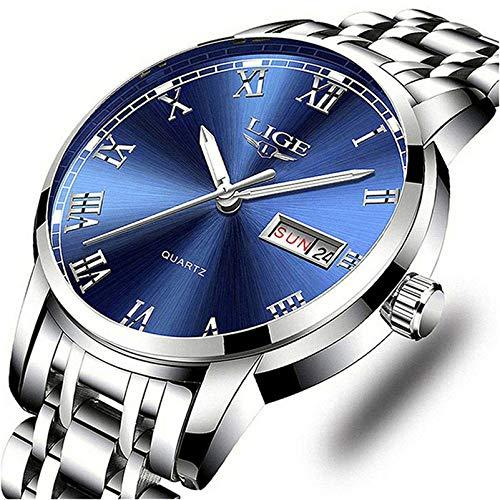 LIGE Herren-Armbanduhr, modisch, wasserdicht, Edelstahl, analog, Quarz, luxuriös, Business-Stil, Armbanduhr für Herren Modische Uhren 2 Silber Blau