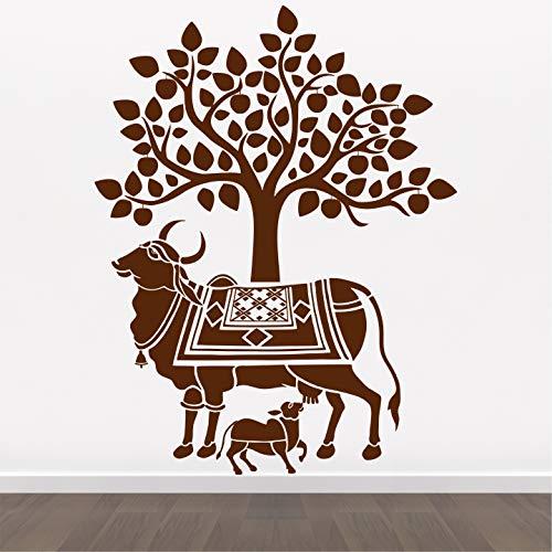 StickMe Adhesivo decorativo para pared, diseño de vaca y becerro de Kamdhenu – Goumata – Santa vaca – religión hindú – sagrada – Dios – creativa – colorido – SM784 (vinilo de PVC – 100 cm x 80 cm)
