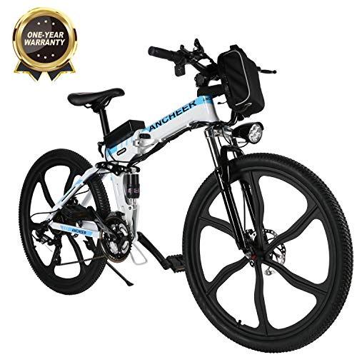 """Bicicletta Elettrica Pieghevole, Bici al Lavoro, E-Bike -Fold 20""""/26"""", Adulto, 250W Batteria 36V 8Ah, Cambio Shimano a 7 velocità (26 Mountain Bike Bianco)"""