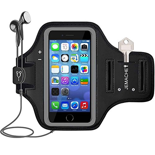 iPhone 5 5S SE(2016) 4.0', iPod Touch 7 6 5 Running Brazalete, JEMACHE Deportivo Correr Móvil Brazo Banda Funda para iPhone SE/5/5S, iPod Touch 5th/6th/7th Generation (Negro)