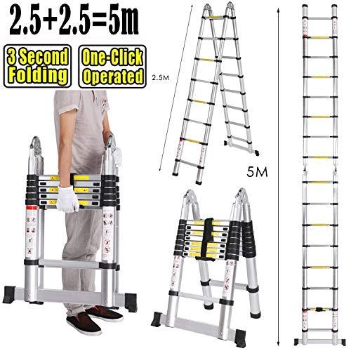 5M Teleskopleiter ausziehbare Leiter Aluleiter Ausziehleiter Anlegeleiter aus hochwertigem Alu Teleskop-Design 150 kg Belastbarkeit (5m)