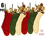 NIGHT-GRING 6 Pcs 38,1 cm Knit Christmas Stockings Woven Strümpfe Weihnachtsschmuck...