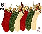 NIGHT-GRING 6Pcs 38,1cm Knit Christmas Stockings Woven Strümpfe Weihnachtsschmuck...