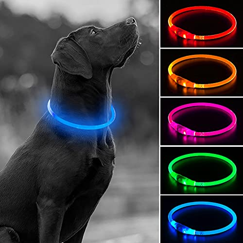 HIGO Glowing LED Dog Collar - USB Rechargeable Pet Collar, TPU Cuttable Light Up Doggy Collars for Nighttime Dog Walking (Blue)