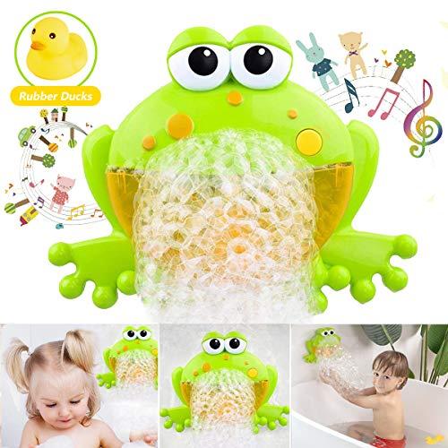 HengGL Badewannenspielzeug für Kinder, Frosch Kinderspielzeug Badespielzeug Baby mit 12 Kinderlieder Seifenblasen Bubble Spielzeug mit Ente Geschenk ab 1 2 3 4 5 Jahre