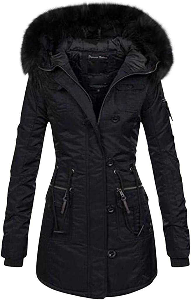 HHmei Long and Thick Coat with Wool Zipper with Winter Hooded Buttons Outwear