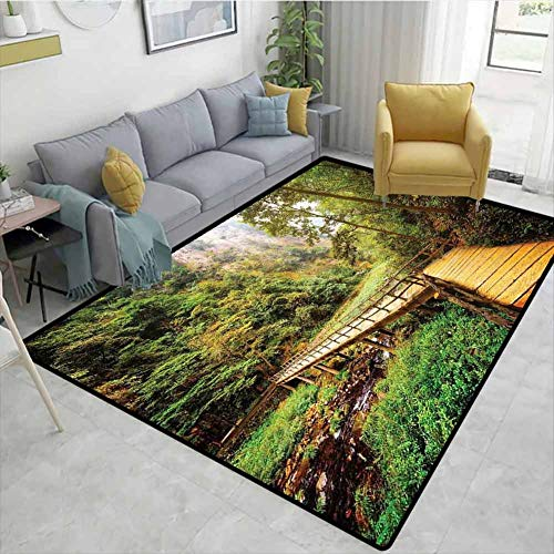 Review Of Bigdatastore Striped Door Mats Outside, Wooden Bridge Over Mountain River Among Trees and ...