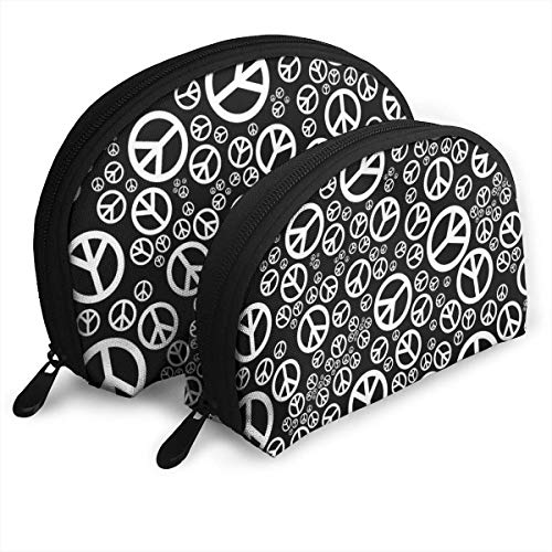 XCNGG Pleasingistic Pacifist Symbols Storage bag Coin Purse Cosmetic Travel Storage Bag One-Big and One-Small 2Pcs Stationery Pencil Multifunction Bag Child Wallet Key Case Handbag