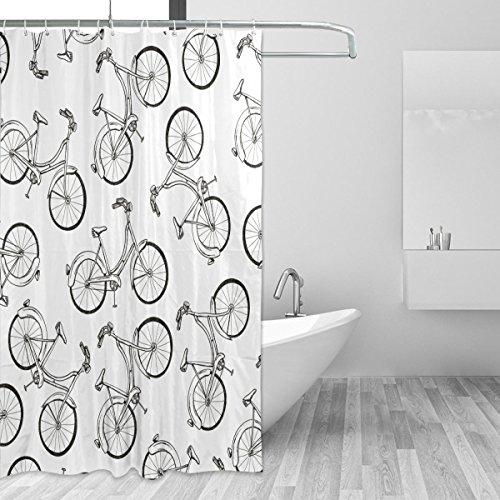 jstel Fahrrad Duschvorhang Schimmelresistent & Polyester-Wasserdicht-182,9x 182,9cm für Home Extra Lang Badezimmer Deko Dusche Bad Gardinen Liner mit 12Haken