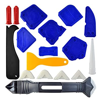 18 Pieces Caulking Tool Kit, Wobe 3 in 1 Caulking Tools Silicone Sealant Finishing Tool Grout Scraper Caulk Remover Caulk Nozzle and Caulk Caps 3 Replaceable Pads for Bathroom Kitchen Sealing