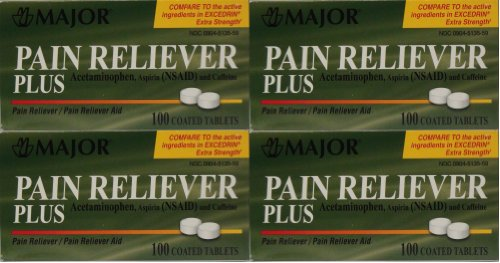Headache Pain Relief Generic for Excedrin Extra Strength Acetaminophen Aspirin & Caffeine Tablets 100 Per Bottle Pack Of 4 Total 400 Tablets
