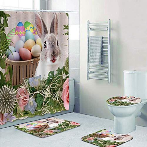 Forart 4Pcs Happy Easter Theme Egg Decor Shower Curtain Set, Happy Easter Rabbit Colorful Eggs in Grass Flowers Scene Waterproof Fabric Bathroom Accessories Set