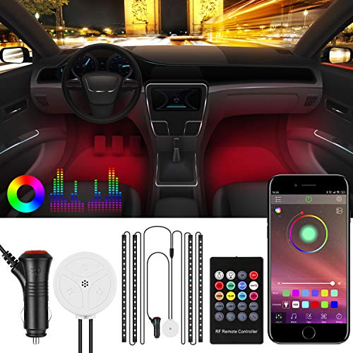 Auto LED Innenbeleuchtung, BodyCode RGB Auto Innenraumbeleuchtung mit APP und Fernbedienung, 4pcs 72 LED Auto LED Strip, Syn mit Musik[Energieklasse A+]