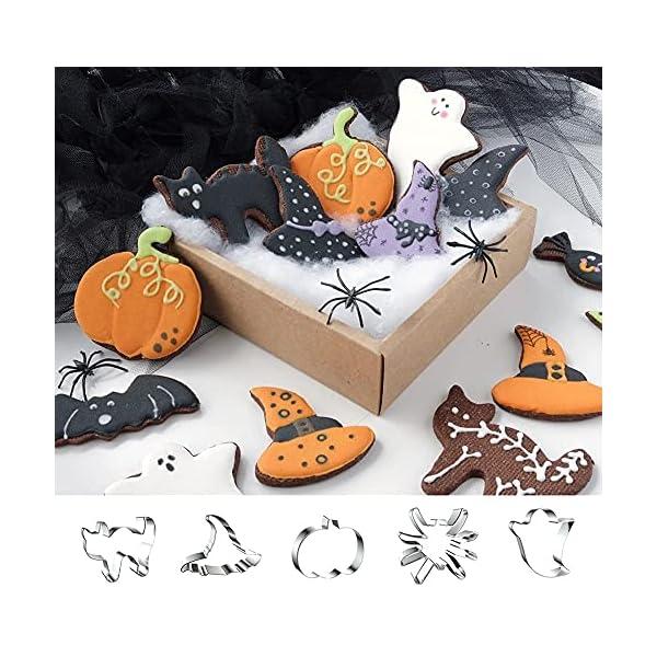 RaG Formine Biscotti Halloween 9 PCS Stampi Forme Biscotti Halloween - Pipistrelli, Zucche, Scheletri, Fantasmi, Caramelle - Halloween Formine per Biscotti Acciaio Inox per Biscotti Halloween 4 spesavip