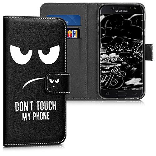 kwmobile Hülle kompatibel mit Samsung Galaxy J3 (2017) DUOS - Kunstleder Wallet Case mit Kartenfächern Stand Don't Touch My Phone Weiß Schwarz