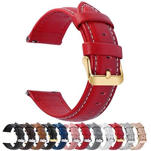 Fullmosa Axus Correa Piel, 12 Colores para Correa Reloj, Huawei Samsung Correa/Banda/Pulsera/Strap 14mm 16mm 18mm 19mm 20mm 22mm 24mm, Rojo + Hebilla de Dorada, 22mm