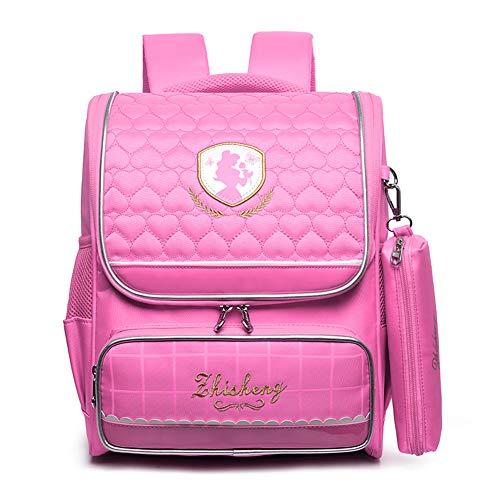 WOCTP Schulranzen, Schulrucksack, Kindergarten, Studentententasche, für Jungen und Mädchen, leichtes Nylon, für die Schule, Gewicht, tragbare Tasche, Prinzessin Gr. 42, rose