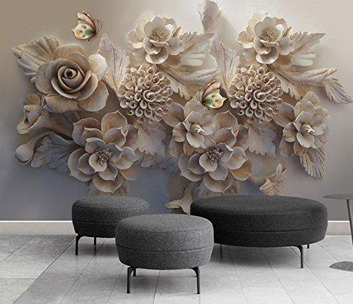 Wh-Porp 3D Geschnitzte Blumen Wandbild Tapete Wandbild Moderne Wohnzimmer Und Tv Hintergrund Wand 3D Foto Wandbild 3D Dekor Wandtattoos Kunst-200Cmx140Cm
