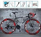 LCAZR Vélo de Route, 26 Pouces, Roues Vélo de Route à Double Disque de Frein Vélos, Armature en Acier au Carbone à Haute, Route de vélos de Course, et Les Femmes Adultes Hommes/Red