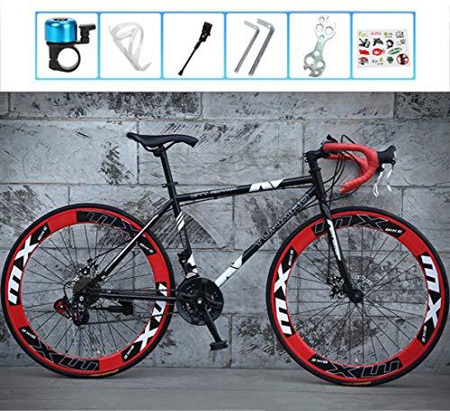 LCAZR Strada Biciclette, 24 velocità 26 Bici Pollici, Doppio Disco Freno, Acciaio al Carbonio Telaio, Strada Biciclette da Corsa, per Uomo e Donna per Soli Adulti/Red