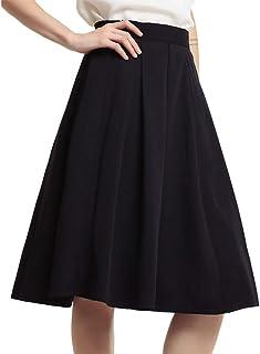 KUKAKI(クカキ) 事務服 スカート ひざ丈 ポケット付き プリーツスカート フレアスカート レディース オフィス カジュアル フォーマル 6色 XS~2XL