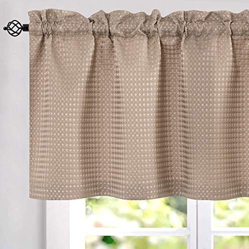JINCHAN Kitchen Curtains Waffle-Weave Valance for Kitchen Bathroom Waffle Woven Textured Window Treatment 1 Panel W60 x L18 Taupe