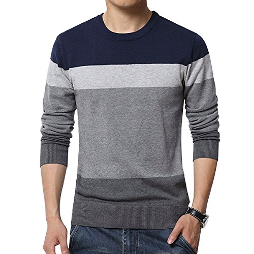 Miracle Men's Sweaters Long Sleeve Knit Lightweight Stripped Pullover Sweatshirt