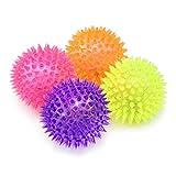 com-four 4X LED Massagebälle, Stachel Bälle mit Noppen für Massagen und als Mitgebsel, Ø 7 cm [Auswahl variiert]