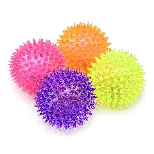 com-four® 4X LED Massagebälle, Stachel Bälle mit Noppen für Massagen und als Mitgebsel, Ø 7 cm [Auswahl variiert]