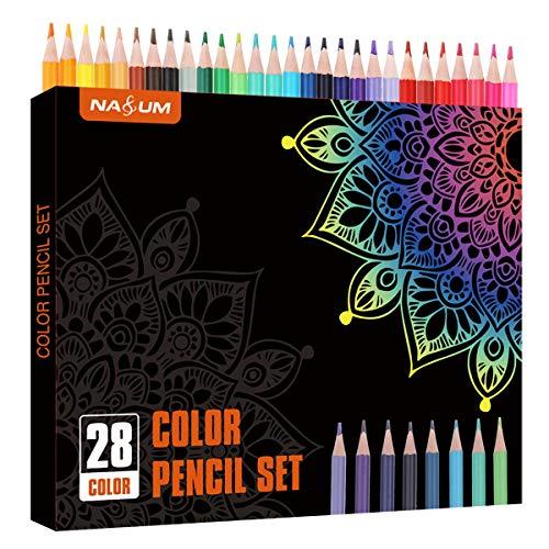 NASUM Colored Pencils, Erasable Soft Core Colored pencils Set, 28 Unique Colors, Colored Pencils Set for Kids and Adult Coloring Book,Break Resistant,Erasable.