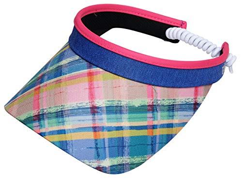 Glove It Coil Visor, Fun Ladies Visor Hat, Sun Visor for Women, Golf Visor with Coil, Visor for Running, Tennis, Beach, Plaid Sorbet, One Size, V283