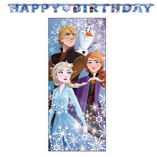 Frozen 2 Girls Birthday Party Decorations Includes 1 Large Happy Birthday Banner and 1 Door Poster