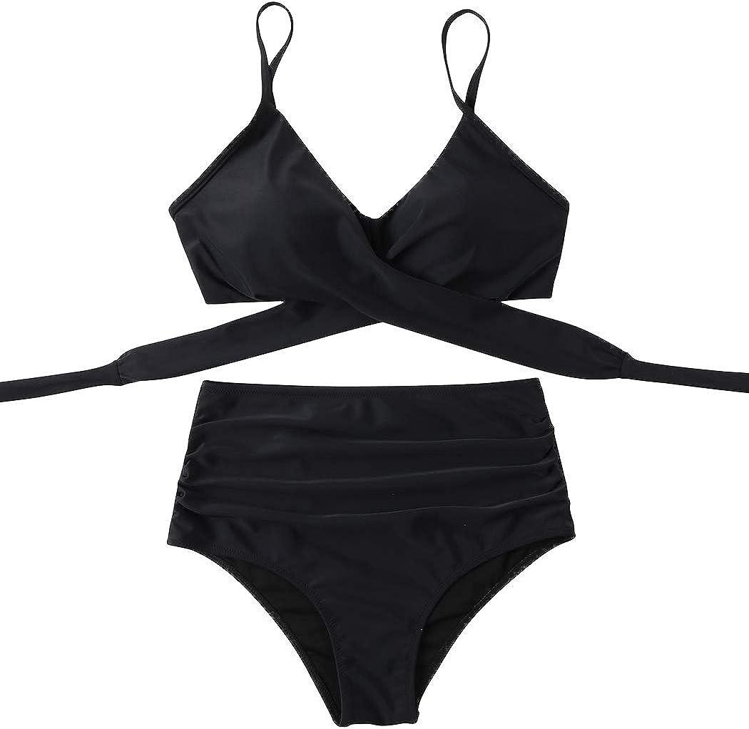 SUUKSESS Women Wrap Bikini Set Push Up High Waisted 2 Piece Swimsuits