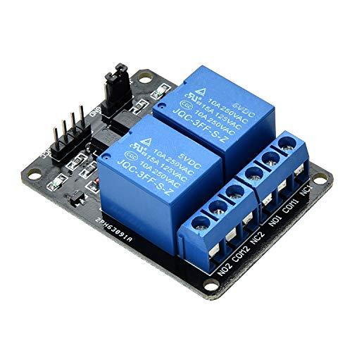 Yizhet Módulo de relé 230V DC 5V acoplador óptico adecuado para Arduino PIC AVR MCU DSP ARM (2 canales)