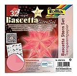 folia Juego Bascetta, Papel Transparente, 15 x 15 cm, 115 g/m², 32 Hojas, diámetro de la Estrella de Aprox. 20 cm, Incluye Instrucciones para Manualidades, Color Rosa