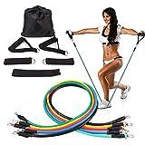 DKE 11 Pcs/Set Resistance Tubes Set Latex Crossfit Resistance Band Fitness Pull Rope