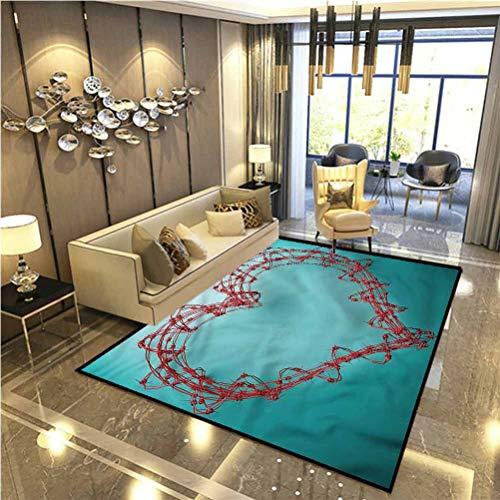 Barbed Wire Floor Rugs for Bedroom Dorm Rugs Rustic Area Rugs Heart Shaped Design Indoor Outdoor Carpet 4 x 6 Ft