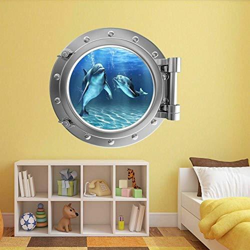 Dolphin Underwater Porthole Wall Art Sticker Mural Decal Children's Bedroom Decoration BZ18