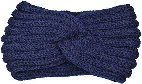 fashionchimp ® Diadema de punto para mujer, diseño de nudos, para invierno azul Talla única