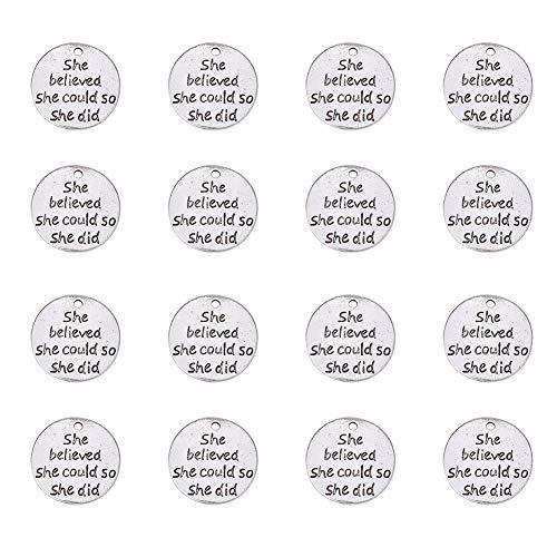 PandaHall Elite 20pcs / Scatola 23x2mm ciondoli in Lega Stile Tibetano con Foro 2mm Ciondolo Charms Tondo Piatto con Parola per Il Pendente creazione di Braccialetti collane Gioielli, Argento Antico