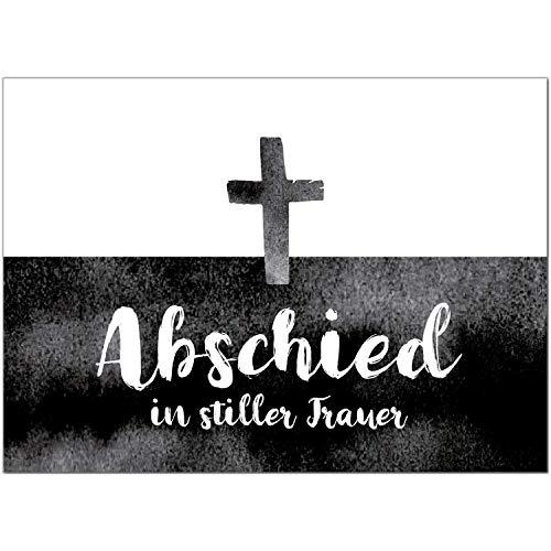 15 x Trauerkarten mit 15 Umschlägen im Set - Aquarell Schwarz Weiss Einladung Beerdigung, Anzeige, Trauer, Sterbefall, Friedhof, Begräbnis
