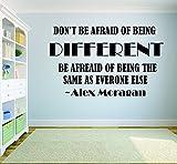 Pegatinas de pared con cita de Alex Morgan de fútbol para pared, decoración de pared, calcomanías de vinilo, citas inspiradoras - DONT BE AFRAID OF BEING DIFERENT
